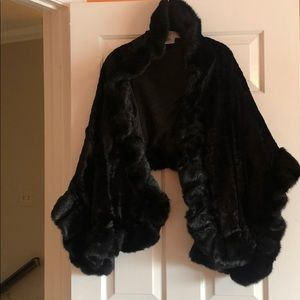 Fake fur black mink stole.